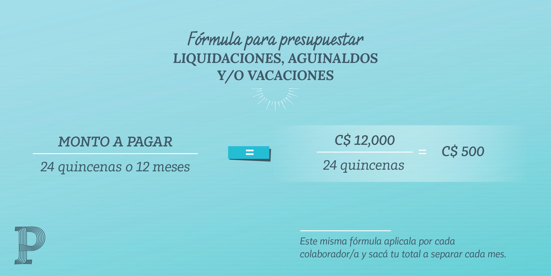 Fórmula para presupuestar liquidaciones, aguinaldos y/o vacaciones